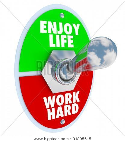 A metal toggle switch with plate reading Enjoy Life and Work Hard to symbolize the balance between enjoying a personal life with friends and family compared to a stressful working job or career