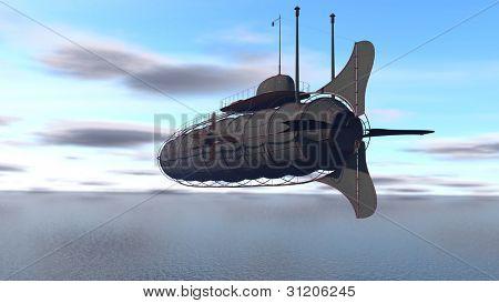 zeppelin over the sea
