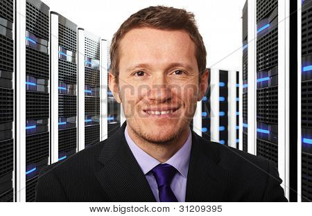 3d image of datacenter and businessman