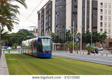 modern trams in the streets