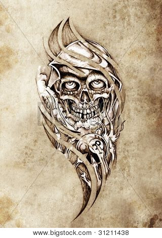 Sketch of tattoo art, monster with eight ball