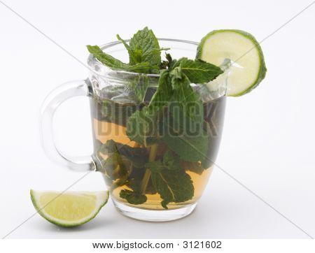 Mug With Mint Tea And Lime