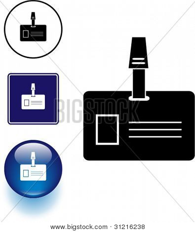 identification with clipper symbol sign and button