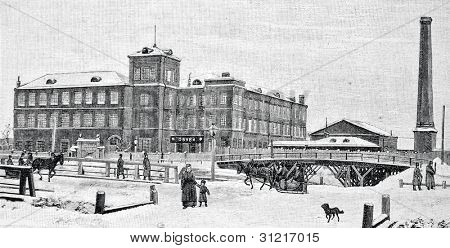 Shoe factory in St. Petersburg. Engraving by  Flyugel. Published in magazine