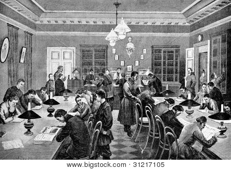 Free public library in St. Petersburg. Engraving by Shyubler  from picture by Zemtsov. Published in magazine