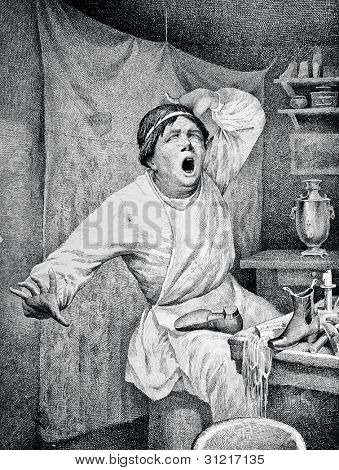 Yawning. Engraving by Angerer  from picture by Obolensky. Published in magazine