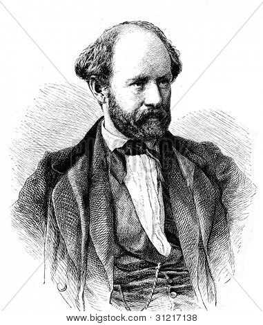 Friedrich Hebbel - German dramatist. Engraving by  Neumann. Published in magazine