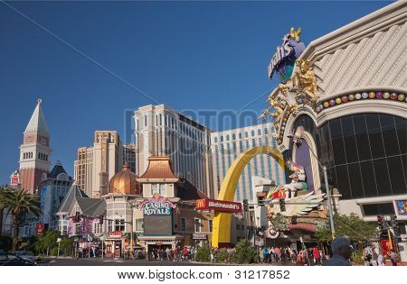 Las Vegas, Nevada - April 12, 2011: Venetian, Casino Royale And Harrah's Hotels At Central Part Of S