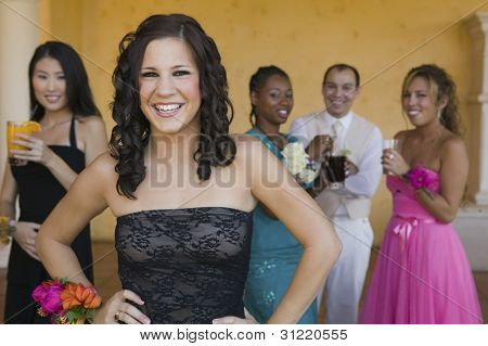 Teenage Girl in Prom Dress
