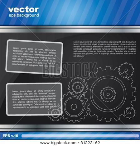Industrial blueish background with gears and place for text