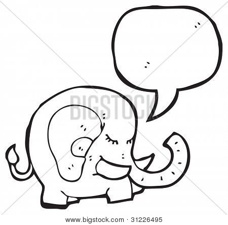 elephant with speech bubble cartoon