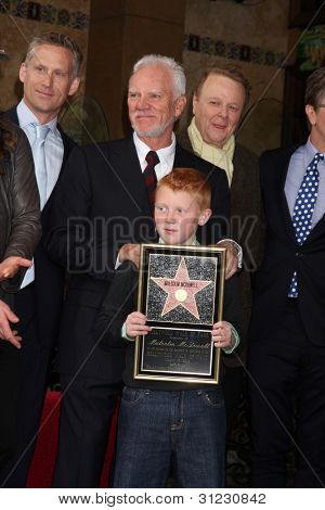 LOS ANGELES - MAR 16:  Malcolm McDowell, son Beckett McDowell at the Malcolm McDowell Walk of Fame Star Ceremony for The Muppets at the Hollywood Boulevard on March 16, 2012 in Los Angeles, CA