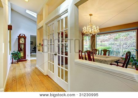 Large Hallway And Dining Room Inteior.