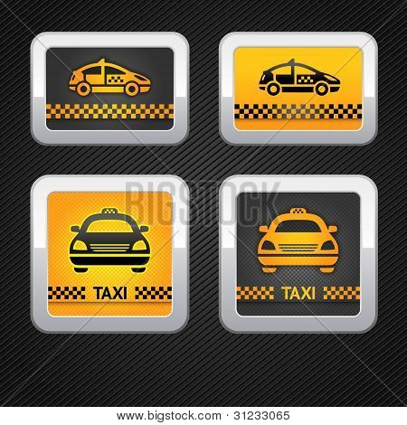 Taxi cab set buttons on corduroy background