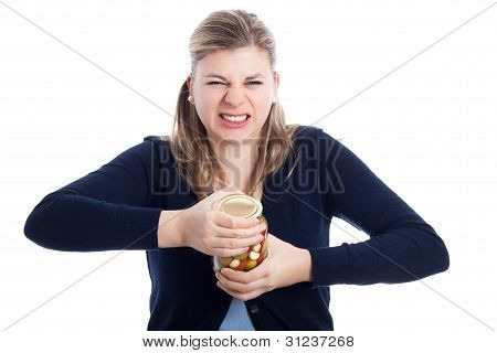Woman Struggling To Open Bottle