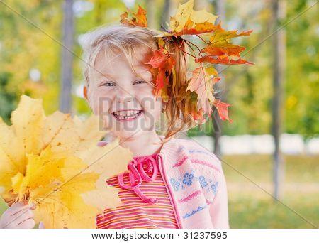 Smile Girl In Autumn Park