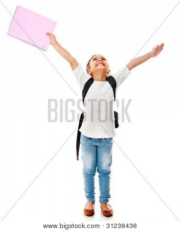 Happy shool girl with hands up - isolated over a white background