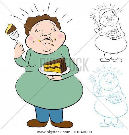 ein Bild von einem Mann besorgt über zu viel Kuchen essen.