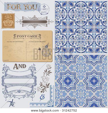Gästebuch Design Elemente Ansichtskarte mit nahtlosen viktorianischen Hintergrund in Vektor