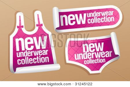 New underwear collection for women, vector stickers set.