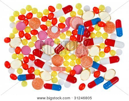 Pills, tablets and drugs, medical background isolated
