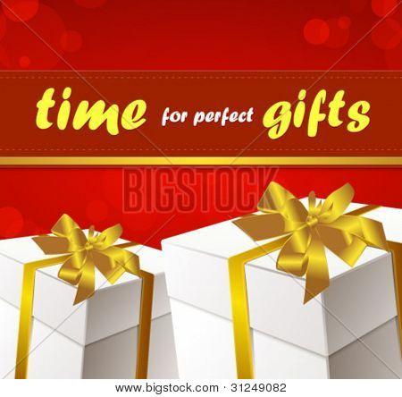 caja de regalo con cinta dorada y arco vector illustration