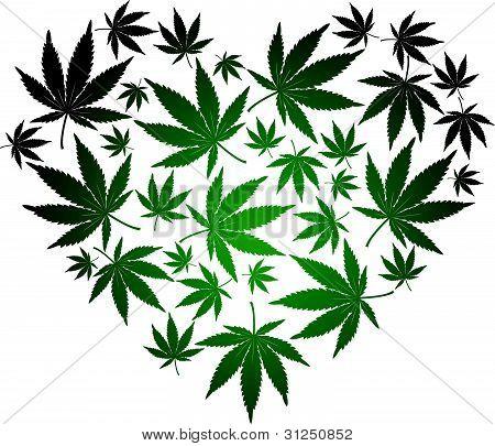 Cannabis leaf heart