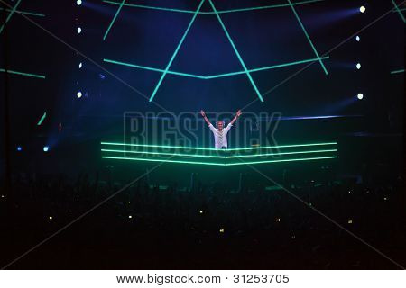MOSCOW - MAY 7: Popular DJ Armin van Buren performs at show ARMIN ONLY: Mirage at State Central Concert Hall Russia (Luzhniki), on May 7, 2011, Moscow, Russia.