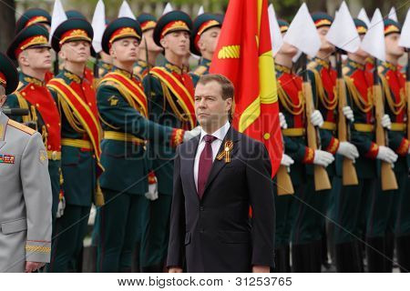 MOSCOW - MAY 8: President Dmitry Medvedev at ceremony of wreath laying at tomb of Unknown Soldier at Victory Day, on May 8, 2011, Moscow, Russia.