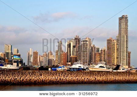 View on the harbor and the skyline of Panama City