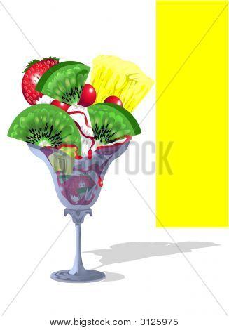 Sundae Whipped Ice-Cream With Fruit Salad
