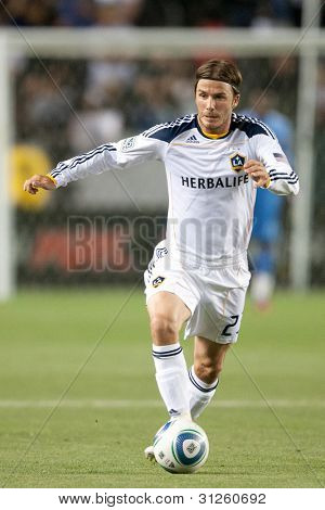 CARSON, CA. - MAY 7: Los Angeles Galaxy M David Beckham #23 in action during the MLS game between the New York Red Bulls & the Los Angeles Galaxy on May 7 2011 at the Home Depot Center in Carson, CA.