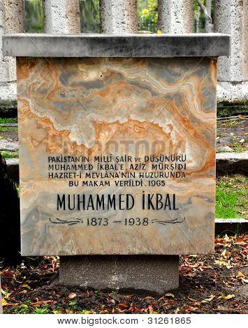 Konya Turkey October 29: A Plaque to Noted Urdu Poet on October 29, 2010 in Konya Turkey