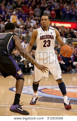 LOS ANGELES - MARCH 12: Arizona Wildcats F Derrick Williams #23 in action during the NCAA Pac-10 Tournament basketball championship game on March 12 2011 at Staples Center in Los Angeles, CA.