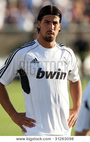LOS ANGELES - JULY 16: Real Madrid C.F. M Sami Khedira #24 during the World Football Challenge game between Real Madrid & the Los Angeles Galaxy on July 16 2011 at the Los Angeles Memorial Coliseum in Los Angeles, CA.