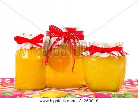 Jar with jam isolated on white background (lemon)
