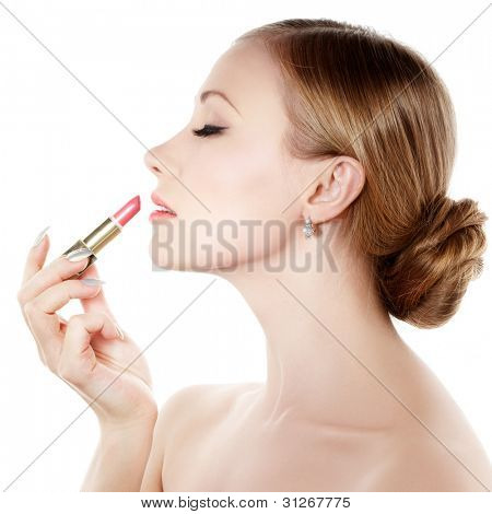 Beautiful woman and lipstick