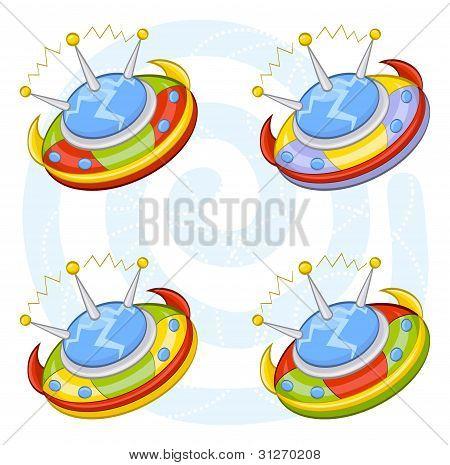 Cartoon flying saucers