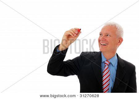 Businessman Writing In Air