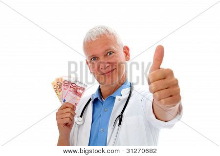 Doctor With Money And Thump Up