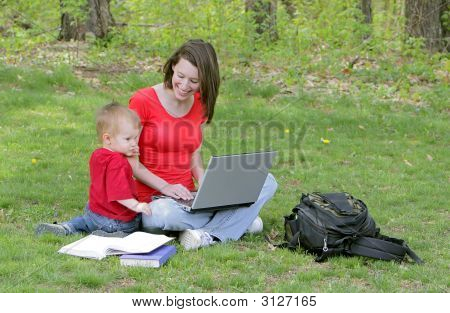 Mom And Son On Laptop