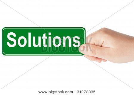 Solutions Traffic Sign In The Hand