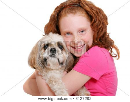 Girl And Dog Over White