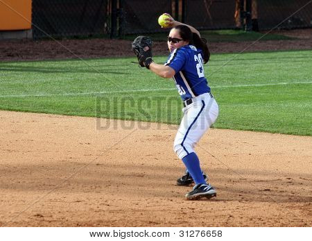 College Softball Player Throwing Ball