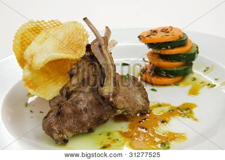 Grilled Lamb Ribs With Vegetables
