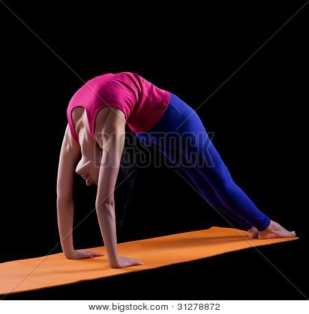 Woman stand in yoga asana