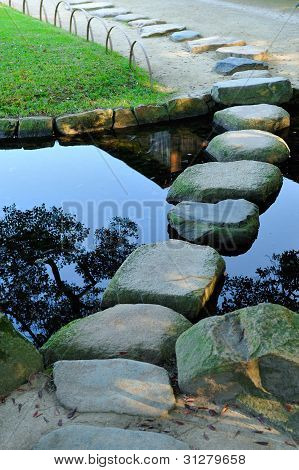 Stepping Stones Crossing Water In The Korakuen Garden In Okayama, Japan