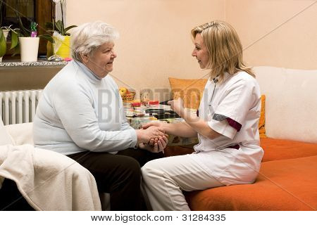 Home Visit Nurse With Senior