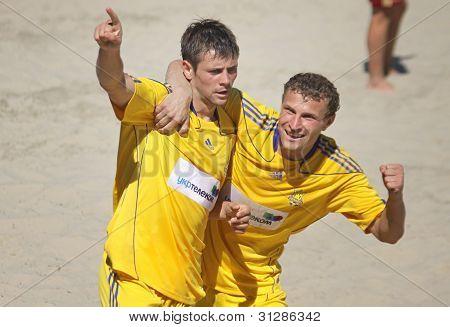 Beach-Soccer-Spiel zwischen der Ukraine und Russland