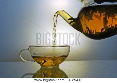 Glass Teapot And Tea Cup